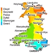 Map of Wales counties